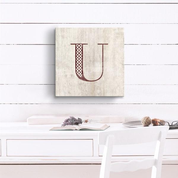 Vintage Inspired Monogram Tan Canvas Wall Art - Letter U