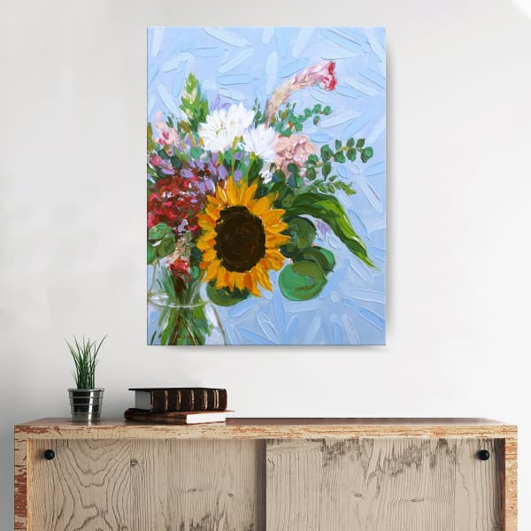 Floral Bouquet Multicolored Canvas Wall Art