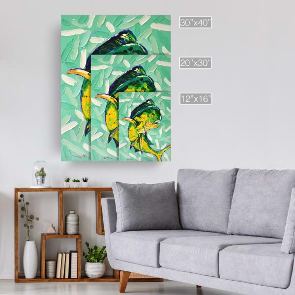 Coastal Mahi Green Canvas Wall Art