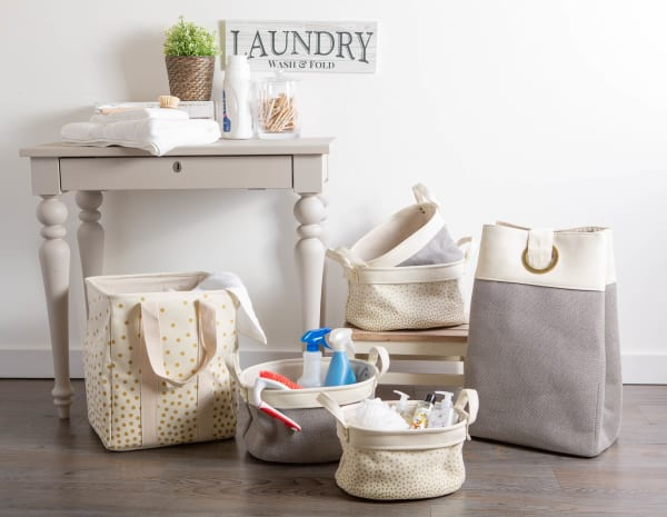 Canvas Double Strap Laundry Bag Confetti Gold 13.75x13.75x16