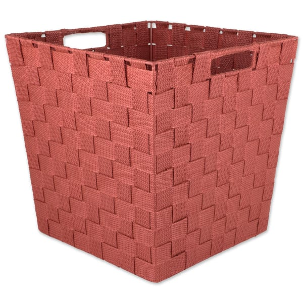 Nylon Bin Basketweave Rust Trapezoid 13x13x13 Set of 2