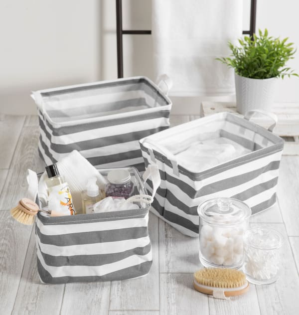 PE-Coated Cotton/Poly Laundry Bin Stripe Gray Rectangle Assorted Large (Set of 2)