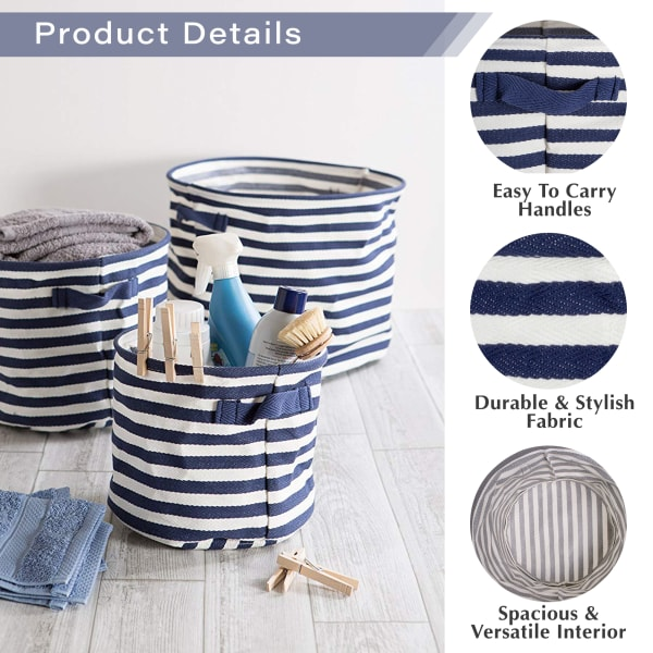 PE-Coated Herringbone Woven Cotton Laundry Bin Stripe Black Round Assorted (Set of 3)
