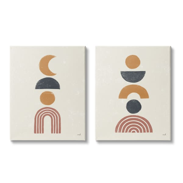Sun and Moon Bohemian Symbols Neutral Primary  2pc Stretched Canvas Wall Art Set by Moira Hershey 16 x 20