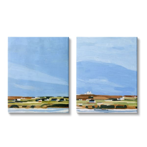 Abstract Seaside Town Landscape Soft Blue Green 2pc Oversized Stretched Canvas Art Set by Emma Scarvey 24 x 30