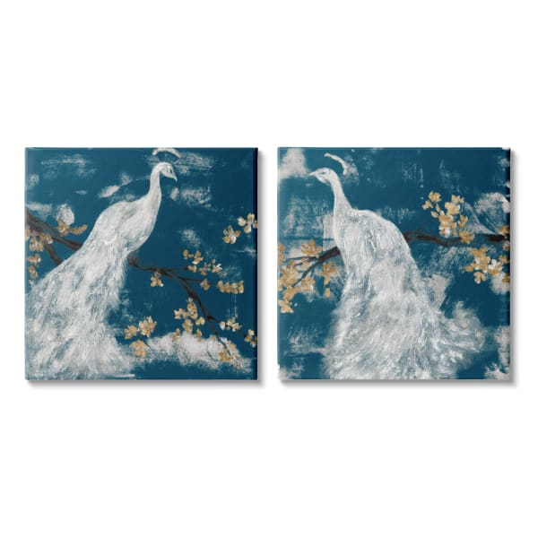 Mystical Peacock Floral Tree Blossoms Indigo Sky 2pc Stretched Canvas Wall Art Set by Jennifer Goldberger 17 x 17