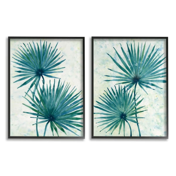 Abstract Palm Fans Blue Green Silhouettes 2pc Black Framed Giclée Texturized Art Set
