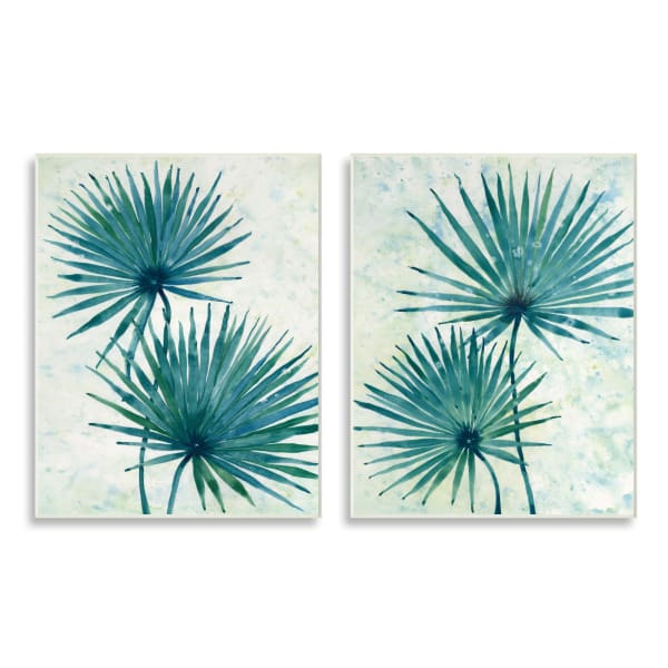Abstract Palm Fans Blue Green Silhouettes 2pc Wall Plaque Art Set by Tim OToole 10 x 15