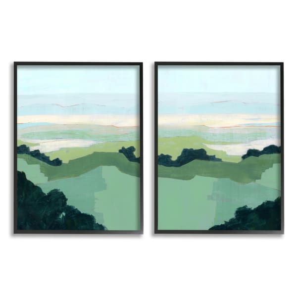 Hill Side Nautical Landscape Abstract Greenery 2pc Black Framed Giclee Texturized Art Set by Grace Popp 11 x 14
