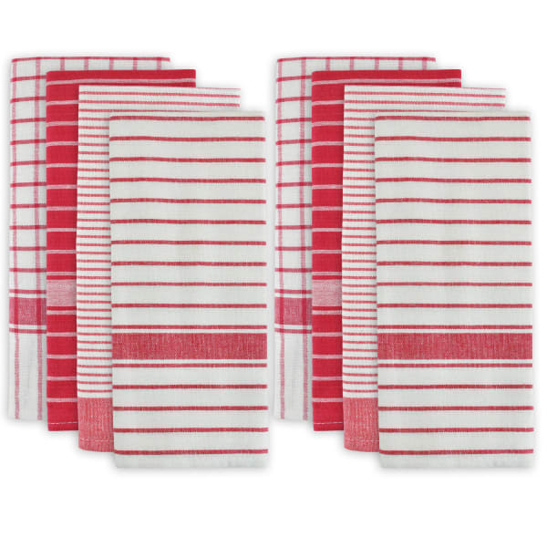 Stripes and Checkered Red Dishtowel Set of 8