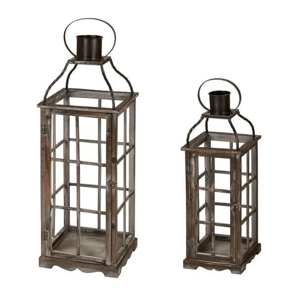 Oversized Farmhouse Wood and Metal Lantern Set of 2