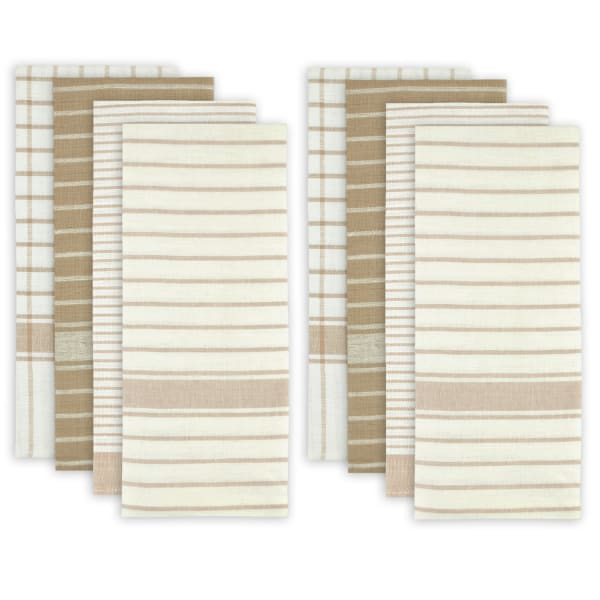 Stripes and Checkered Taupe Dishtowel Set of 8