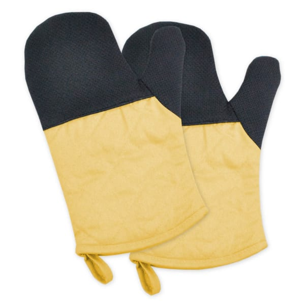Two-Toned Yellow Heat Resistant Oven Mitt Set of 2