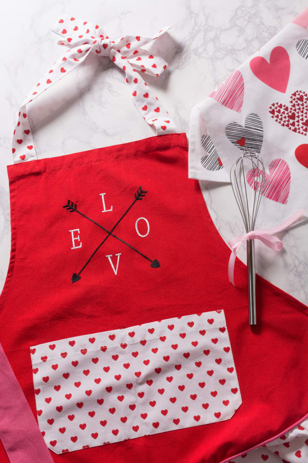 Valentine's Day Crossed Love Red Apron