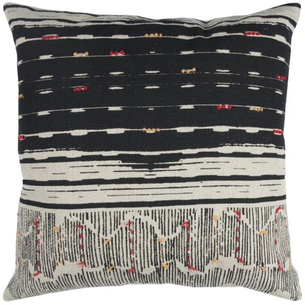 Boho Striped Black Pillow Cover
