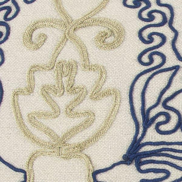Embellished Medallion Blue Lumbar Pillow