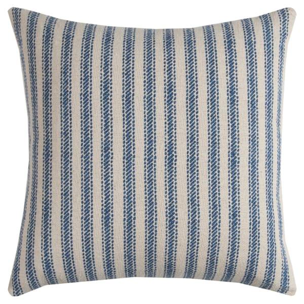 Ticking Stripe Blue & Natural Throw Pillow