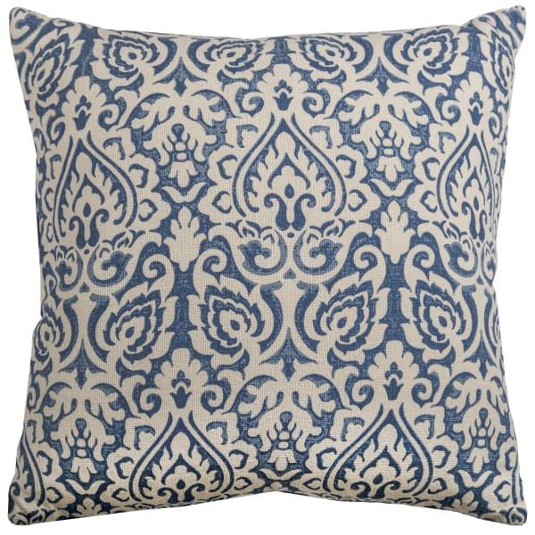 Damask Blue & Natural Throw Pillow