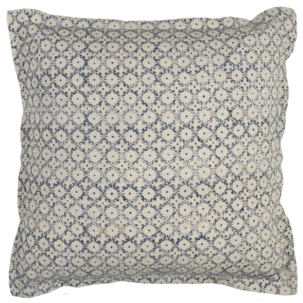 Block Print Blue & Natural Pillow Cover