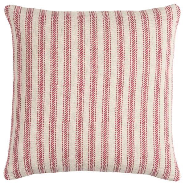 Ticking Stripe Red & Natural Throw Pillow