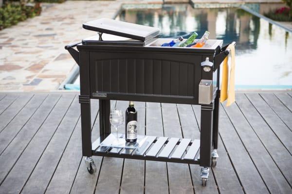 Black Patio Cooler Cart with Shelf