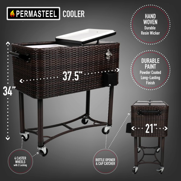 Brown Wicker Patio Cooler Cart