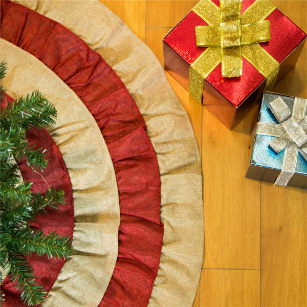 Retro Christmas Faux Burlap Tree Skirt
