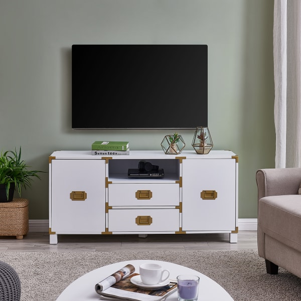 White & Gold TV Stand