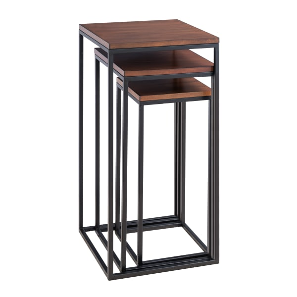 Square Mahogany & Black Nesting Tables Set of 3