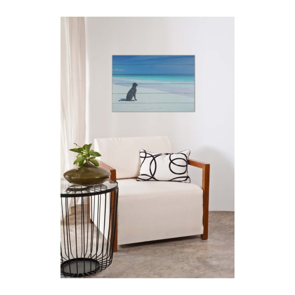 Dog on Beach Print on Wood