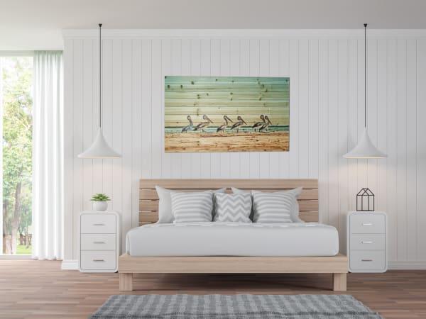 Walking Pelicans Print on Wood