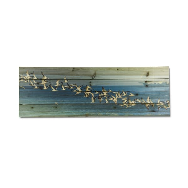 Birds in Flight Print on Wood