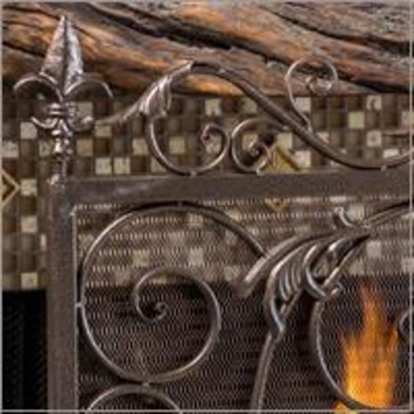Gold & Black Fireplace Screen