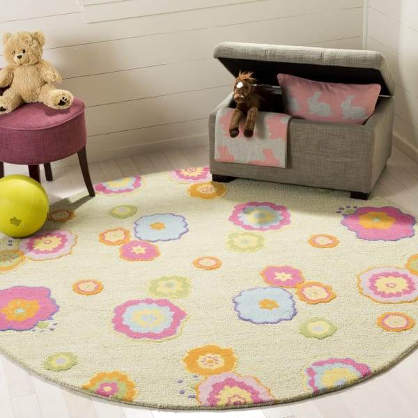 Flower Power 6' Round Kids Rug