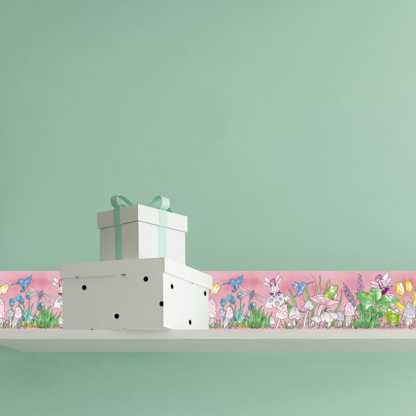 Magical Garden Green Self-Adhesive Borders Removable Wallpaper