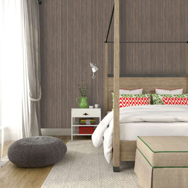Grasscloth Bronze Self-Adhesive Removable Wallpaper