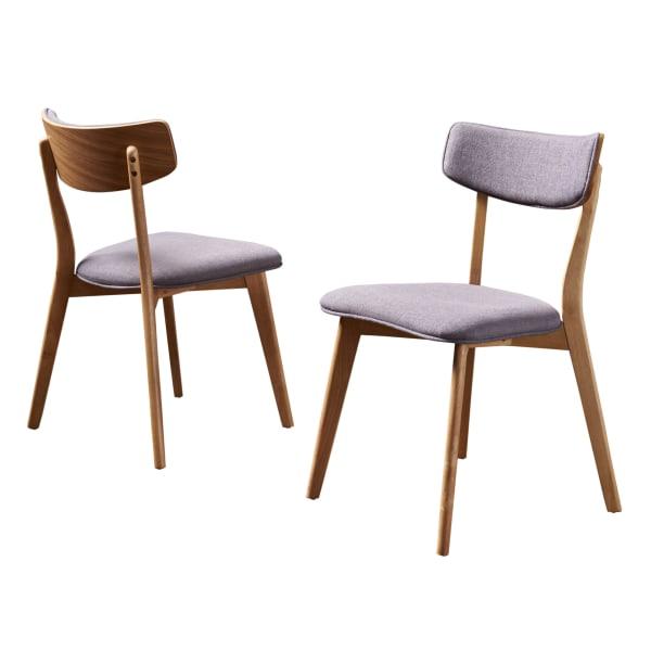Mid-Century Dark Gray Fabric Dining Chairs