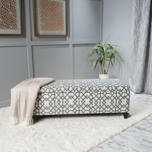 Gray Geometric Fabric Storage Ottoman
