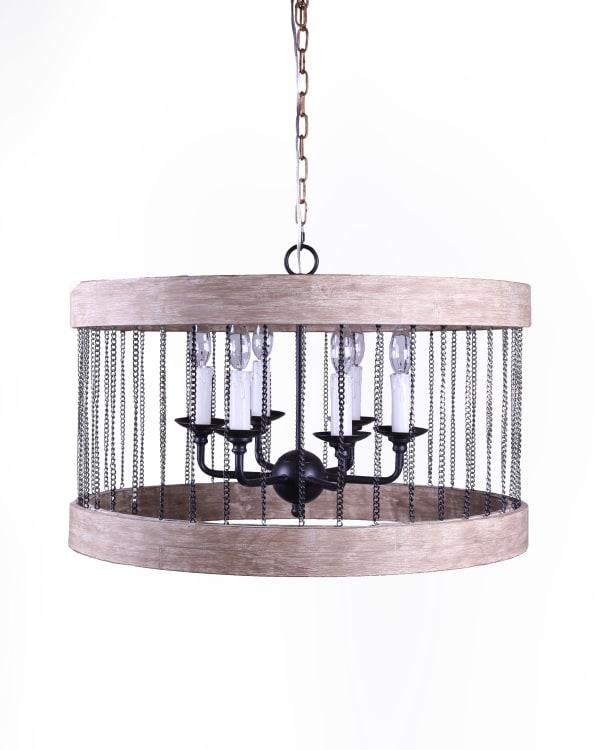 Wood & Metal Cylinder Chandelier