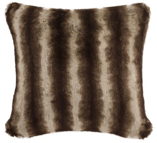 Faux Fur Coco Brown Striped Pillow
