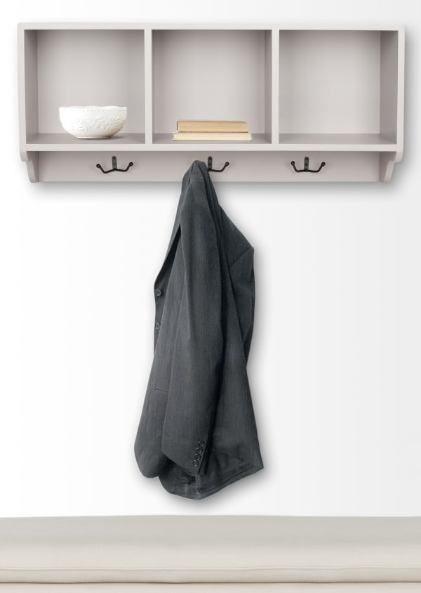 Kelling Gray Wall Shelf with Storage Compartments