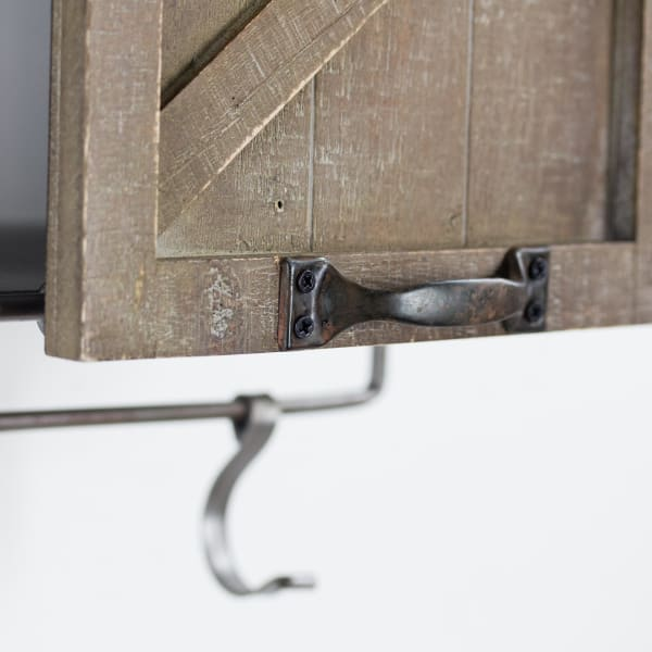 Shelf with Sliding Barn Door & Hooks
