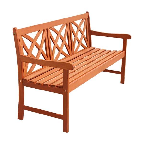 Brown 5' Flower Pattern Wood Garden Bench