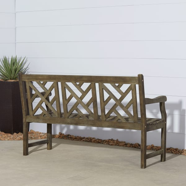 5' Hand-Scraped Decorative-Back Wood Garden Bench