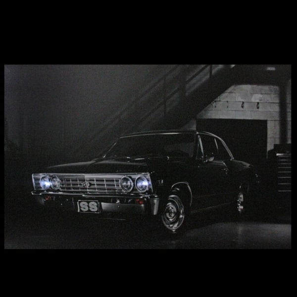 LED Light-Up Black Chevelle SS Classic Car Canvas Wall Art