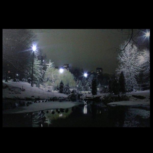 LED Light-Up Nighttime City Park Winter Scene Canvas Wall Art