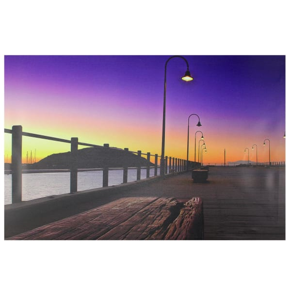 LED Light-Up Sunset Boardwalk Scene Canvas Wall Art