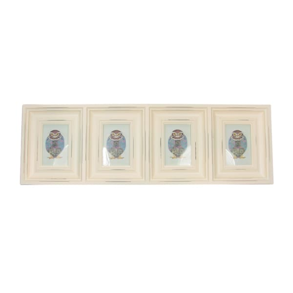 Distressed Eggshell White 4-Photo Collage Frame