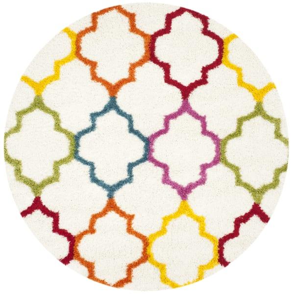 Multicolored Layla Quatrefoil 7' Kids Round Rug