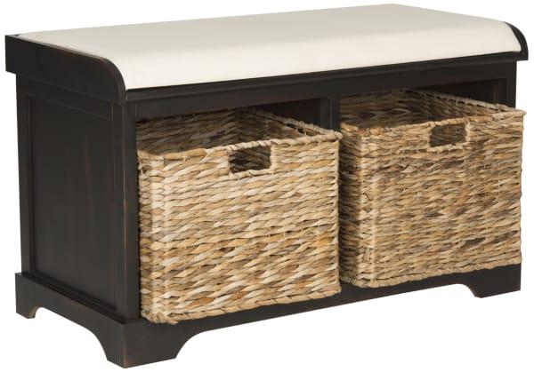 Lauren Brown Wicker Storage Bench
